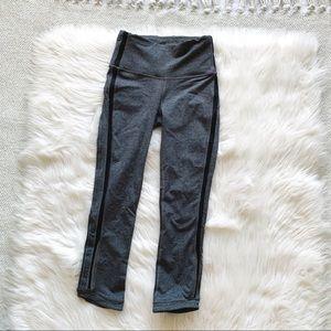 Lululemon Grey Striped Sheer Cropped Leggings